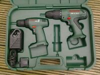 Bosch 12v twin drill set c/w charger and carry case - new.