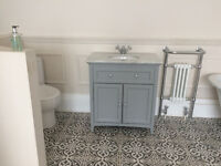 Vanity unit grey with marble top, double doors with interior shelf, top quality unit.