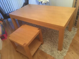 Beechwood effect tables and cabinet.