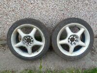 """Kumho Ecsta V700 semi slick track tyres 205/45/16 x2 with 16"""" Stillauto Alloy wheels"""