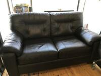 LEATHER SOFA BED BLACK/BROWN VERY GOOD CONDITION