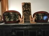 SET OF TWO DOME TOPPED CHINESE/ORIENTAL INSPIRED STORAGE BOXES