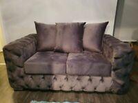 Grey Velvet - Fabric Sofas -New Condition 2 & 3 seater