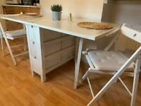 Wooden white table and chairs