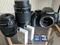 EOS 550D + 2 lenses, sd cards, tripod, bag, original boxes, batteries. Superb condition!