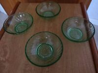 GREEN GLASS DISHES X 4 - VINTAGE RETRO