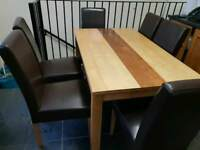 Wooden Dining Table with 6 Chairs