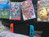 Ninendo Switch Neon With 4 Brand New Games (mario odyssey, zelda etc)