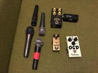 Guitar pedals. Effects pedals. Guitars. Amps. Fender, Gretsch, JHS, Shure, wampler, OCD