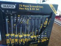 Draper 73 piece screw driver, Hex key and bit set