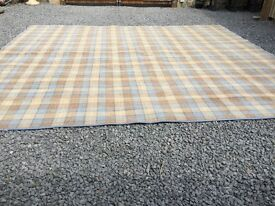 Quality carpet blue and gold check. Large size 386cm x 360cm