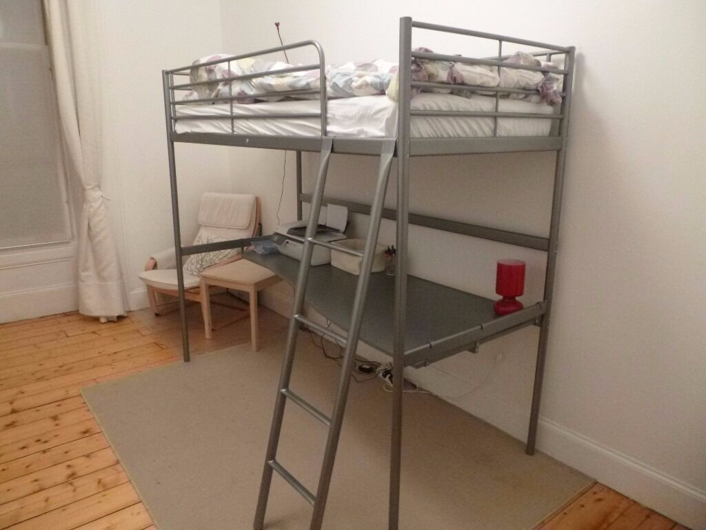 ikea svarta loft bed frame with desk top in hillhead