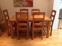 John Lewis Solid Oak Dining Table and Chairs in very good condition