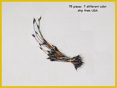 75 Pcs Solderless Breadboard Jumper Wires - 7 Colors
