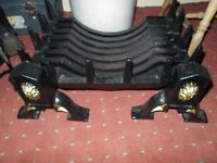 Fire basket, Log coal fire basket and 2 fire dogs, New & unused