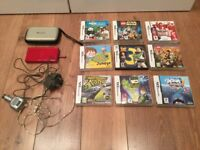 Nintendo DS lite with case and 9 games