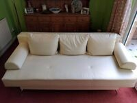 Double Cream Leather Sofa Bed With Cushions; Great for Young Couples/Spare Rooms