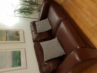 Leather 3 and two seater sofa