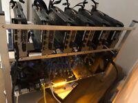 Brand New 6 GPU Mining rig 6 x nVidia GTX1050Ti in aluminum frame.
