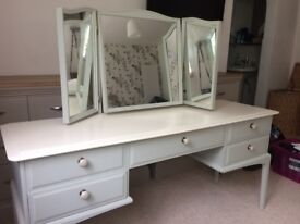 Stag minstrel painted dressing table with matching stool in red upholstery