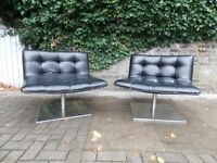 PAIR OF STYLISH RETRO MODERN FUNKY DANISH ?? VINTAGE CHROME AND BLACK OPEN LOUNGE/OFFICE CHAIRS