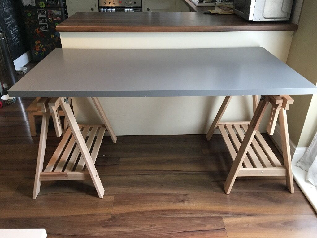 Nearly new ikea finnvard linnmon desk or table grey table top