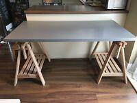 Nearly new Ikea Finnvard/Linnmon desk or table (grey table top, beech trestles)