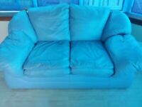 Free leather sofa, two seater light blue
