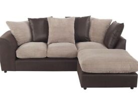 Brand New Leather/Fabric Corner Sofa