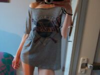 sexy vintage customised t shirt WOMEN'S SIZE 8 XS GREY CASH ONLY LONDON SE16