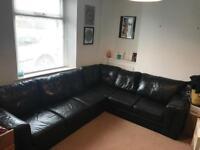 Black corner leather sofa