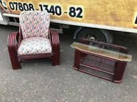 Ratten wicker conservatory armchair and coffee table £59