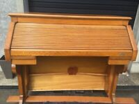 Oak Roll Top Writing Bureau Ex Church Organ Unique One Off Furniture E