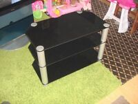 tv stand black glass good condition ready to go