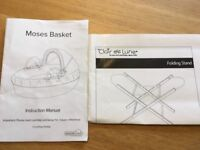 "M& S/East Coast ""Counting Sheep"" Moses basket bassinet with folding stand, in excellent condition"