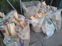 Bags of split logs all well dried and ready to burn