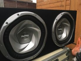 Dual 12 inch Sony Xplod Subs in Ported Box with Xplod Amp and Crossover