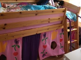 Children's cabin bed with tent