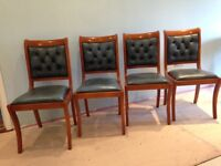 4 YEW WOOD AND LEATHER DINING CHAIRS