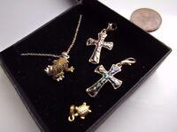 New 18ct gold, pendant + Three new silver pendants, jewellery. Swindon.