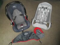 GRACO REAR FACING BABY SEAT upto 13kg/compatible base/neck support/hood A1 condition with manual