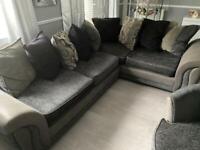 DFS Corner Sofa, Swivel Chair and Pouffe