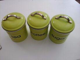 GREEN TEA COFFEE SUGAR CANNISTERS