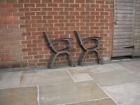 TWO SETS OF MODERN CAST IRON BENCH ENDS
