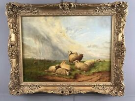Thomas Sidney Cooper Oil Painting (1803 - 1902) Sheep May Safely Graze