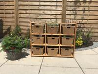Storage unit with wicker baskets