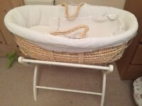 Moses basket, stand, blanket, 3 bedsheets and teddy