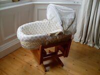 Mothercare rocking crib -and- moses basket.