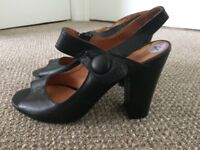 Black leather shoes, UK size 6
