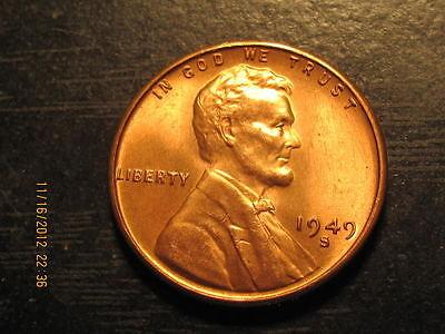 1949 S LINCOLN WHEAT CENT     BU COIN